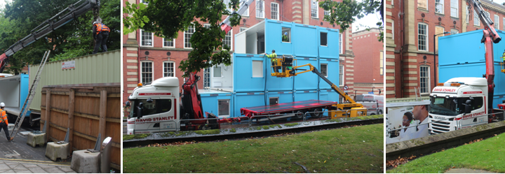 Modular building moving lifting transport